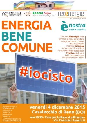 Energia bene comune #iocisto, il 4 dicembre a Casalecchio di Reno