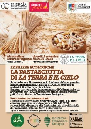 Le filere ecologiche, la pastasciutta di La Terra e Il Cielo a Preganziol (TV) il16/09