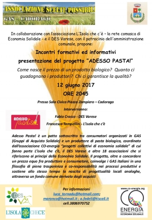 Presentazione Adesso pasta! il 12 giugno a Cadorago