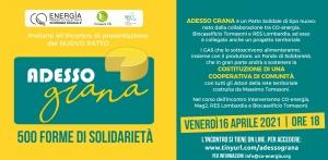 """Presentazione del nuovo patto """"ADESSO GRANA! 500 FORME DI SOLIDARIETÀ"""""""