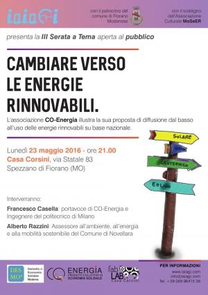 Verso le energie rinnovabili, il 23 maggio a Spezzano di Fiornano (MO)