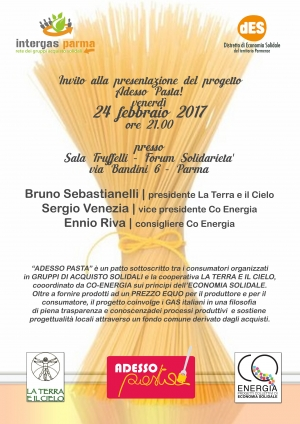 Adesso Pasta! Presentazione del progetto a Parma il 24 febbraio